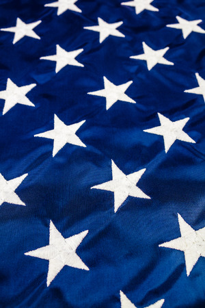 white flag: A field of white stars embroidered on an American flag, full frame Stock Photo