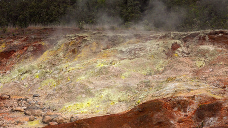 the deposits: Steam rising from vents create colorful sulfur deposits in Hawaii Volcanoes National Park
