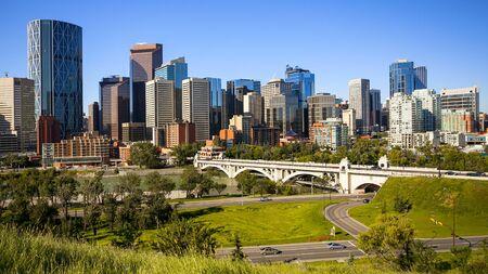 calgary: Downtown Calgary skyline during the day. Stock Photo
