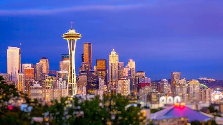 Seattle city skyline at dusk. Downtown Seattle cityscape with Space Needle.