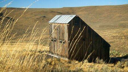 byway: A weathered barn at the Oregon Trail Interpretive Center in the Hells Canyon Scenic Byway in eastern Oregon Stock Photo