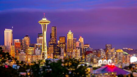 space needle: Seattle city skyline at dusk. Downtown Seattle cityscape with Space Needle.