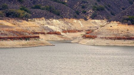 global environment: Low water levels at Lake Cachuma in Santa Barbara County due to the severe drought in California