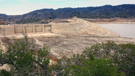 global environment: Falling water levels at   Lake Cachuma due to severe California drought leave the locks at Bradbury Dam high and dry
