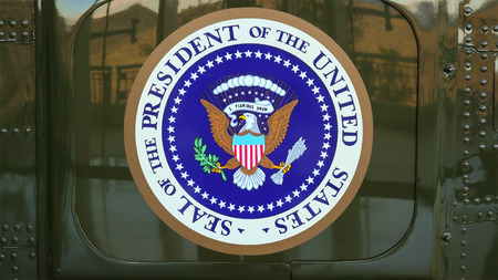 united states of america: Presidential Seal on the side of Presidential Helicopter Marine One at the Ronald Reagan Presidential Library Editorial