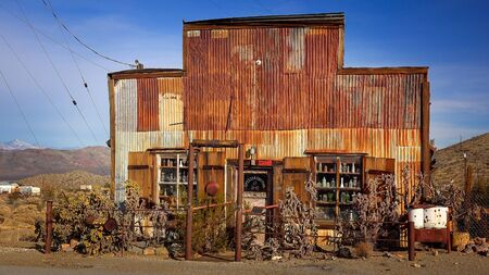mining town: This rusted, tin sided building is currently home to an antique store in the living ghost town of Randsburg, California