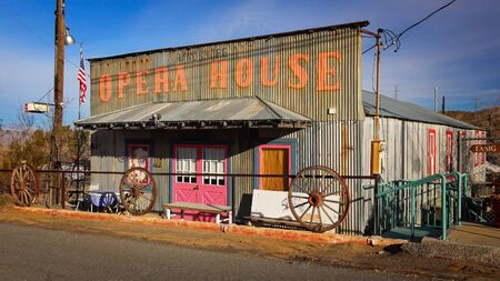 western usa: The Opera House in the living ghost town of Randsburg, California population 68