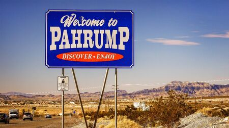nevada: Traffic passes the Welcome to Pahrump Nevada sign