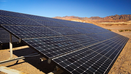 Solar panels soak up the desert sun in Death Valley National Park