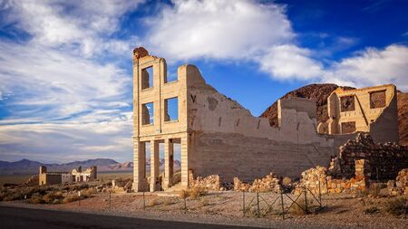 near death: Ruins of the Rhyolite ghost town bank near Death Valley