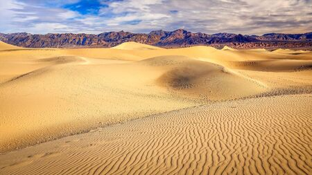 sand dunes: The mesquite flat sand dunes in Death Valley National Park Stock Photo