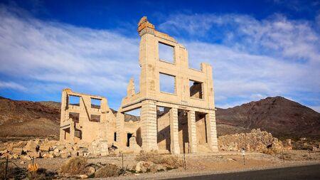 near death: Ruins of a Rhyolite ghost town bank near Death Valley