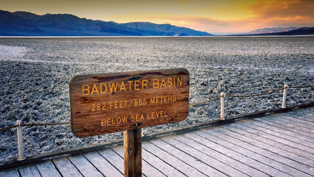valley below: The salt flats in Badwater Basin in Death Valley National Park.