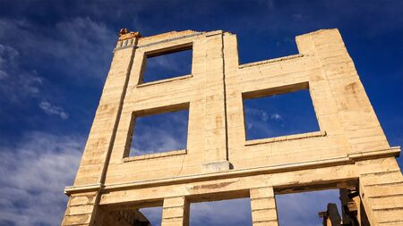 near death: Ruins of the Rhyolite ghost town bank in Nevada near Death Valley