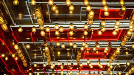 neon lights: A full frame shot of neon lights and bulbs flashing on and off in Las Vegas Stock Photo