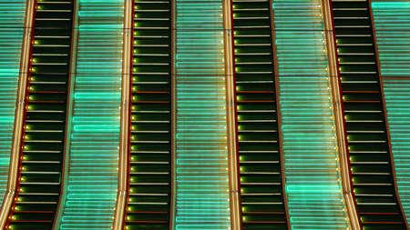 A full frame shot of neon lights flashing in Las Vegas at night Imagens