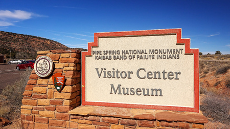 mormon: Visitor center and museum sign at entrance to Pipe Spring National Monument Editorial