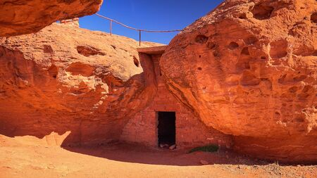 pioneer: Pioneer cabin made of sandstone located in Pioneer Park in St. George, Utah Stock Photo