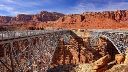steel arch bridge: Navajo Bridge in Marble Canyon is near the town of Page, Arizona