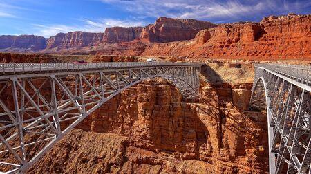 page arizona: Historic Navajo Bridge near Page, Arizona Stock Photo