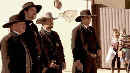 shootout: Gunfighters in the streets of the wild west town of Tombstone, Arizona Editorial