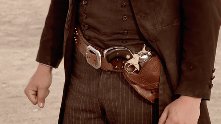 outlaw: Close-up of the gunbelt worn by a wild west gunfighter in Tombstone, Arizona