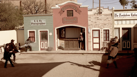 Cowboys and gunfighters reenact the shootout at the OK Corral in Tombstone, Arizona