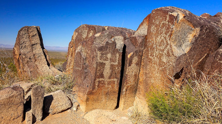 chihuahua desert: Ancient petroglyphs carved into rock at Three Rivers Petroglyph Site in New Mexico Stock Photo