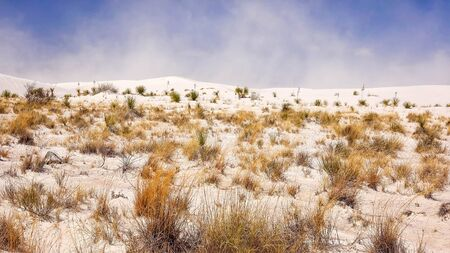 chihuahua desert: Sand storm blows in the distance at White Sands National Monument in south western New Mexico Stock Photo