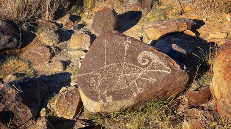 chihuahua desert: 1,000 year old petroglyph carved into rock at Three Rivers Petroglyph Site in New Mexico