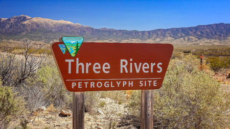 chihuahua desert: Three Rivers Petroglyph Site sign in south western New Mexico Stock Photo