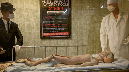 Alien body on gurney being examined after its spaceship crashed near Roswell. A display at the International UFO Museum and Research Center in Rowsell, New Mexico Editorial