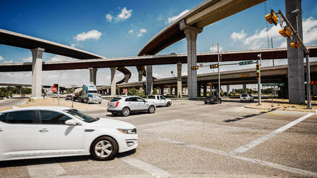 downtown capitol: Traffic and freeway on Austin, Texas city streets