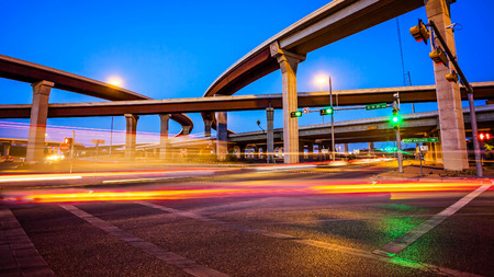 Traffic and freeway on Austin, Texas city streets