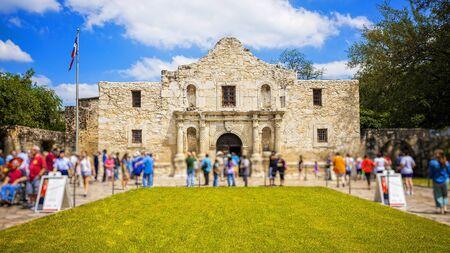 Exterior view of the historic Alamo in San Antonio, Texas with tourists