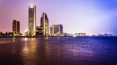 Corpus Christi downtown city skyline at night in Texas
