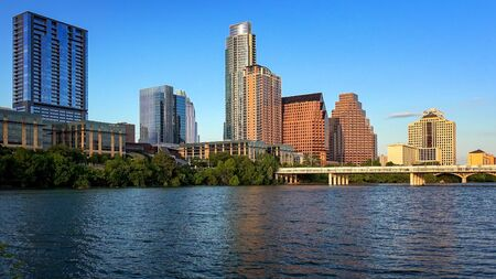 Austin, Texas skyline from the shore of Lady Bird Lake along the Colorado River