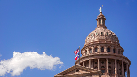 Dome of the Texas State Capitol building in downtown Austin, Texas