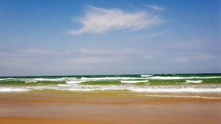 south padre: Ocean waves roll in from the Gulf of Mexico at Isla Blanca Park on South Padre Island in Texas