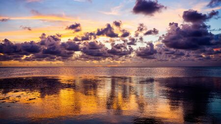 horizon reflection: Dramatic sunset over the Gulf of Mexico in the Florida Keys