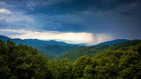appalachian: Rainstorm blows in over the Appalachian Mountains along Blue Ridge Parkway in Asheville, North Carolina