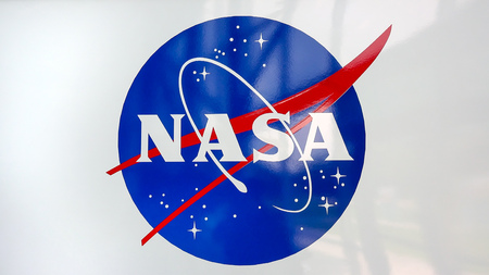 NASA emblem at the Kennedy Space Center Visitors Complex in Cape Canaveral, Florida