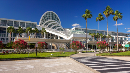 Exterior view of the Orange County Convention Center in Orlando, Florida