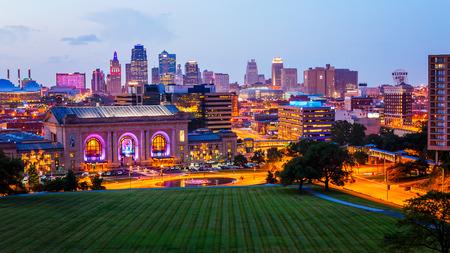 Kansas City, Missouri cityscape skyline as night falls over downtown Editorial