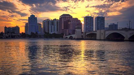 Dramatic sunset sky behind the skyline of West Palm Beach, Florida