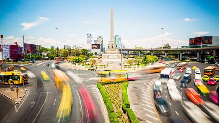 Traffic in roundabout surrounding Victory Monument in Bangkok, Thailand