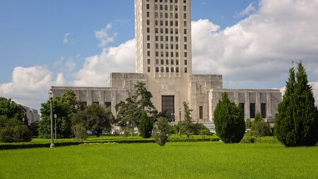 Louisiana State Capitol Building against sky in Baton Rouge Stock Photo