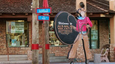 Welcome to Old Town Scottsdale sign Editoriali