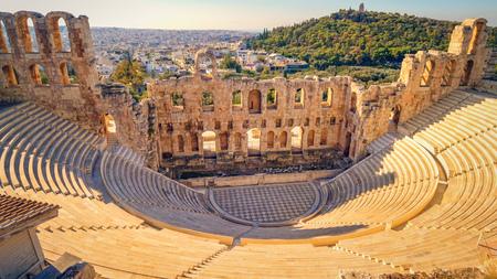 Théâtre de Dionysos au-dessous de l'Acropole à Athènes, la Grèce est considérée comme le premier théâtre au monde alias Odéon d'Hérode Atticus