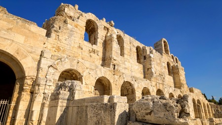 Entrance to the Theatre of Dionysus located below the Acropolis in Athens, Greece is considered to be the worlds first theater aka Odeon of Herodes Atticus